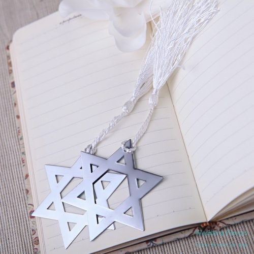 chrome-classic-stars-shape-silver-practical-bookmark-favors