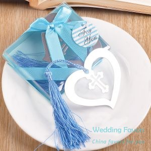 Cross Heart Bookmark with Blue Tassel279