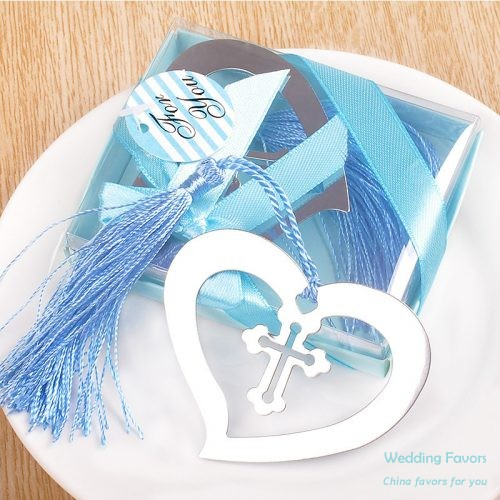 Cross Heart Bookmark with Blue Tassel599