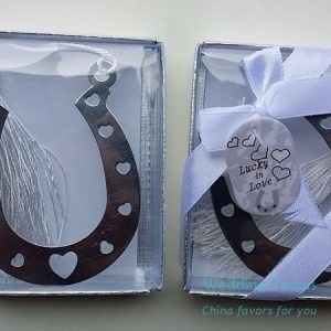 Lucky in Love Horseshoe Bookmark Favors85