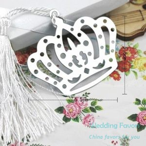 Stainless Steel Crown Bookmark with Flower Tassels69